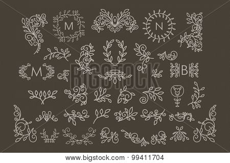 Big Vector set of line floral design elements for logos, frames and borders in modern style. Good for wedding invitations, page decoration, monogram designs e.t.c.