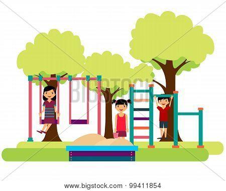 Kids playing on the playground. Sandbox, horizontal bar and swing. Vector illustration