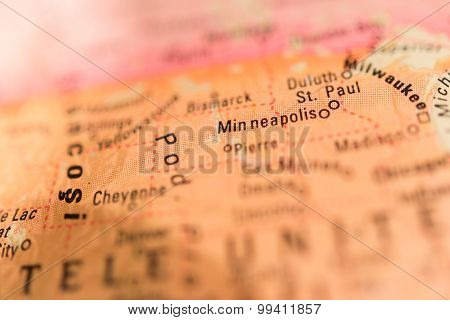 Map View Of Minneapolis On A Geographical Globe