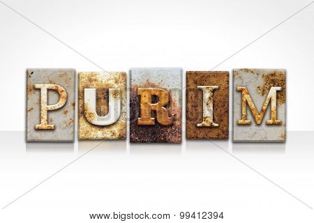 Purim Letterpress Concept Isolated On White