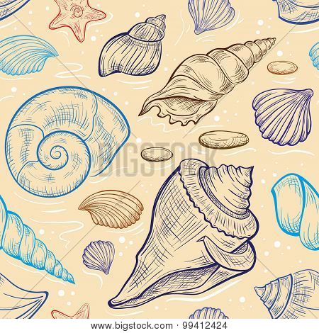Vector seashalls seamless pattern