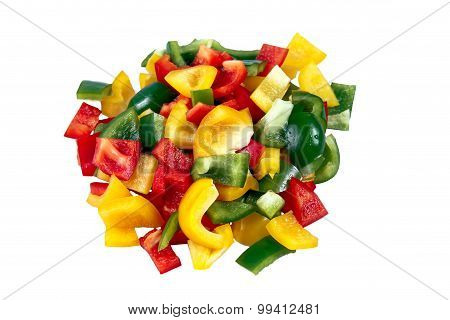 Fresh vegetables Three sweet Red, Yellow, Green mix sliced Peppers isolated on white background