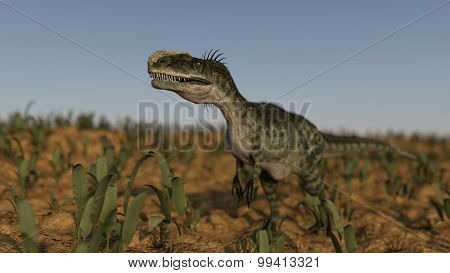 monolophosaurus on grassy terrain