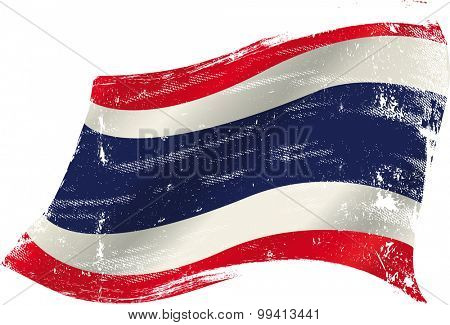 Thai grunge flag. flag of  Thailand in the wind with a texture
