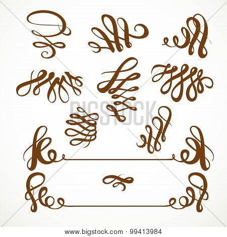 Calligraphic Vintage Elements Set 1 Isolated On A White Background