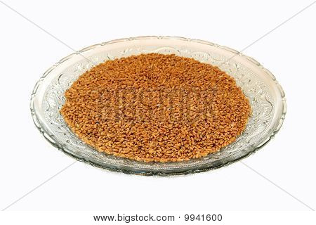 Wheat Grains In Glass Tray