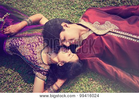 Indian couple in traditional wear. happy young indian couple in Indian traditional costumes
