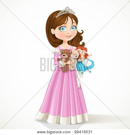 Beautiful Little Princess In Tiara Holding Soft Toys Isolated On