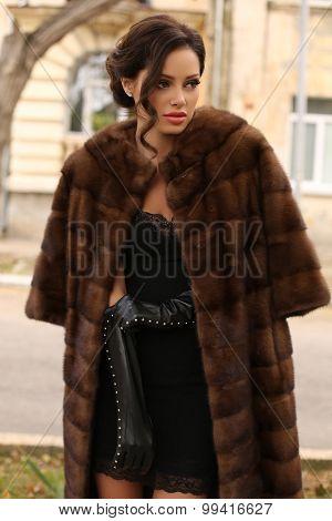 Glamour Woman With Dark Hair Wearing Luxurious Fur Coat