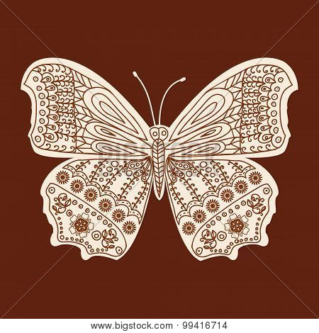 Henna Butterfly Mehndi Design Element