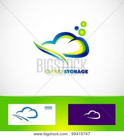 Cloud Computing Storage Data Logo Icon