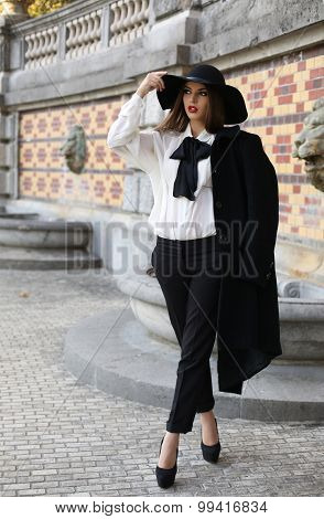 Beautiful Lady With Dark Hair Wearing Elegant Clothes