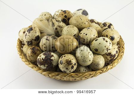 Quail Eggs In A Wicker Oval Shape