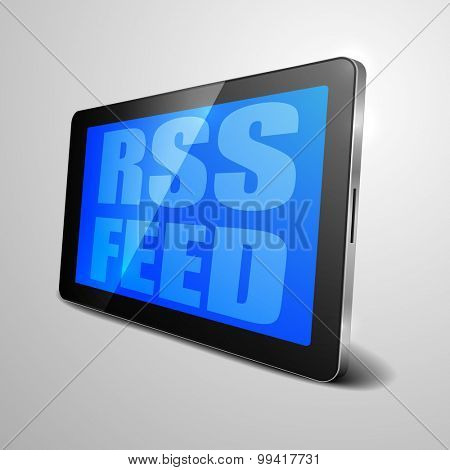 detailed illustration of a tablet computer device with rss feed text