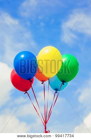 Colorful balloons with sunshine