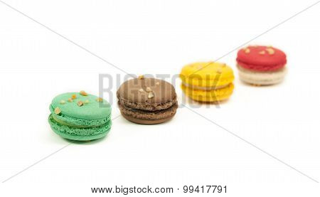colourful macaron isolated on white background.
