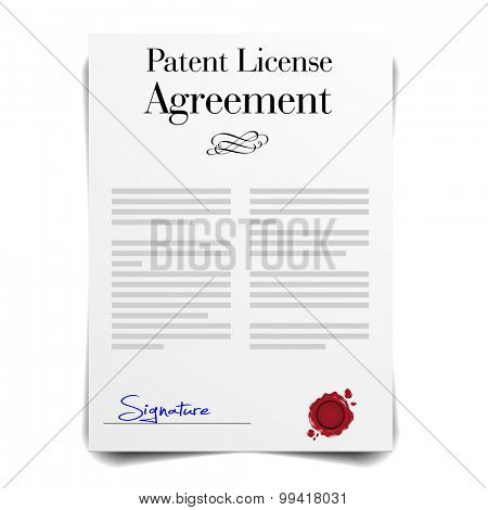 detailed illustration of a Patent License Agreement Letter, eps10 vector