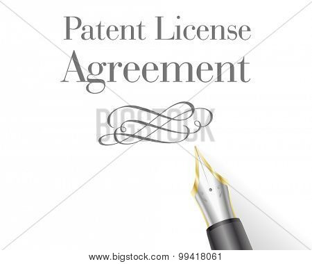 illustration of a Patent License Agreement Letter head with fountain pen