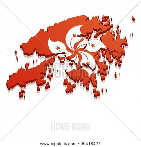 detailed illustration of a map of Hong Kong with flag, eps10 vector