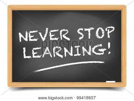 detailed illustration of a blackboard with Never Stop Learning text, eps10 vector, gradient mesh included