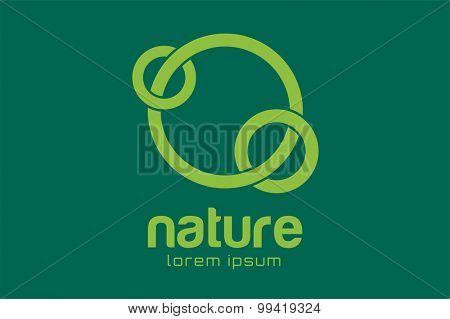 Green nature care togetherness logo. Togettherness logo. Care and nature logo. Abstract flow logo template. Round ring shape and infinity loop symbol, thin line. Company logo design. Vector logo