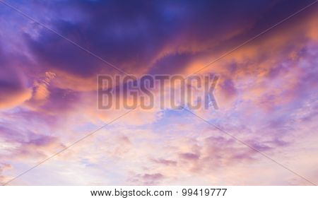Image Of Sky On Evening Time With Purple Tone