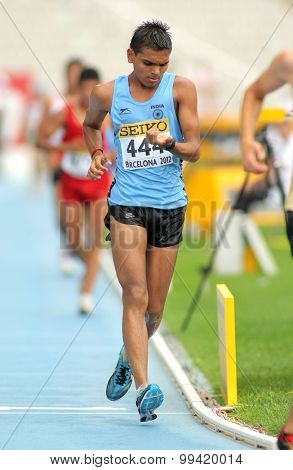 BARCELONA - JUNE, 13: Neeraj Neeraj of India during 10000 metres race walk event of of the 20th World Junior Athletics Championships at the Olympic Stadium on July 13, 2012 in Barcelona, Spain