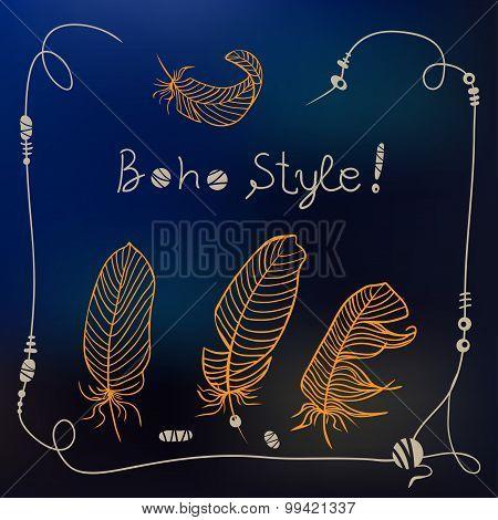 Boho Style Frame Background. Vector Illustration
