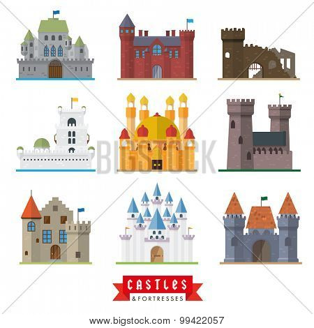Castles and fortresses vector icons. Set of 9 flat design icons for castle, fortress, ruin, mansion, palace, villa.