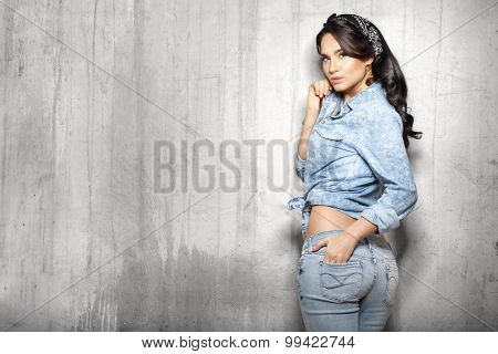 Brunette Hair Woman In Jeans