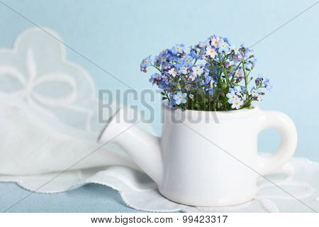 Forget-me-nots flowers in watering can, on blue background