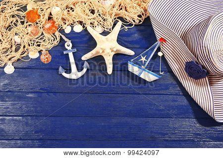 Summer accessories on wooden background