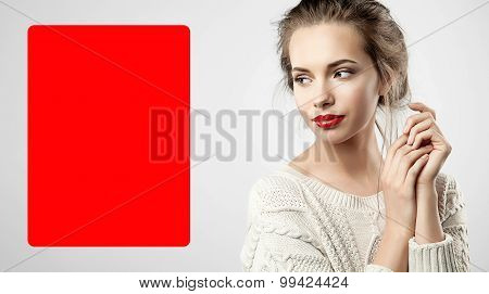 Blond Woman With Red Lips And Red Poster