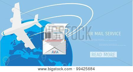 Vector air mail service web icon.