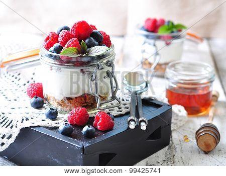 homemade granola with fresh yougurt, blueberries, raspberries, raisins and organic agave nectar. Hea