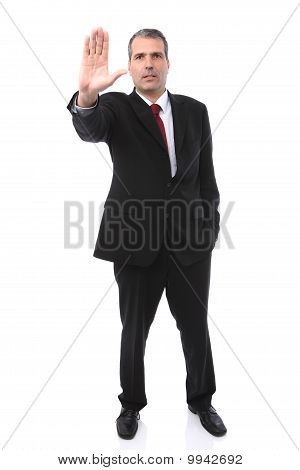 Businessman Gesturing Stop With His Hand