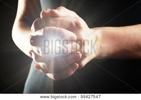 The light in young woman hands