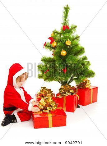 Baby in Santa Kostüm