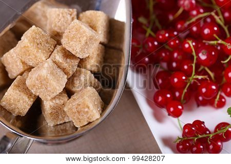 Ripe red currants with lamp sugar, closeup