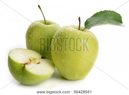 Ripe green apples isolated on white