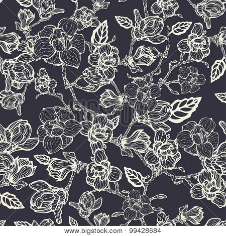 Floral seamless pattern, vector illustration, black and white version