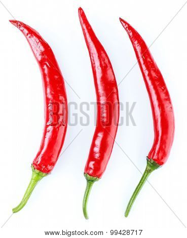 Red hot peppers isolated on white
