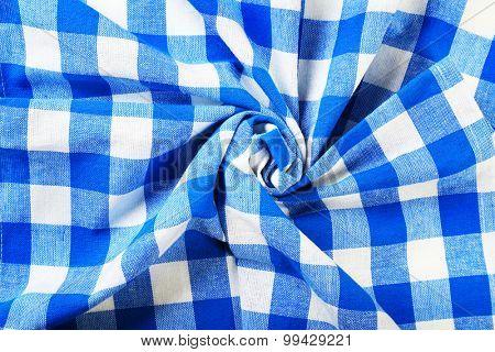 Checkered blue napkin, closeup
