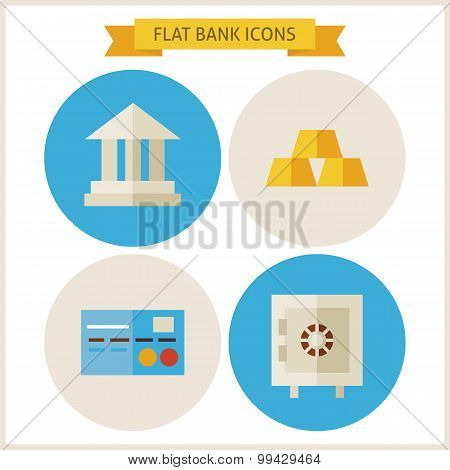 Flat Bank Website Icons Set