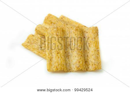 multigrain snack isolated on white background.