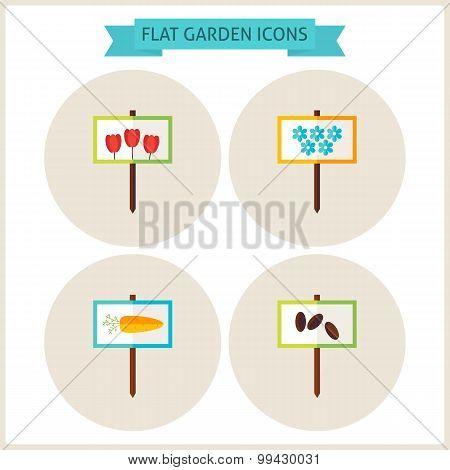 Flat Garden Signs Website Icons Set