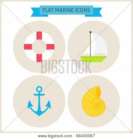 Flat Marine Website Icons Set