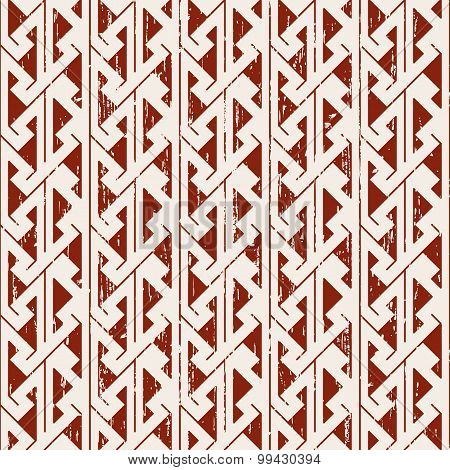 Seamless worn out sawtooth aboriginal geometry pattern background.
