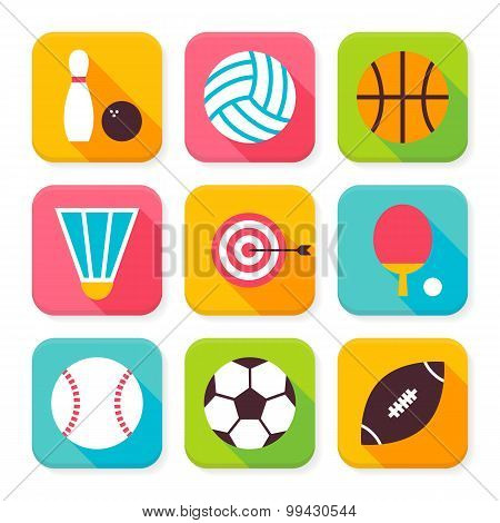 Flat Sport And Recreation Squared App Icons Set