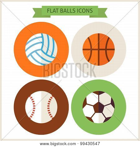 Flat Sport Balls Website Icons Set